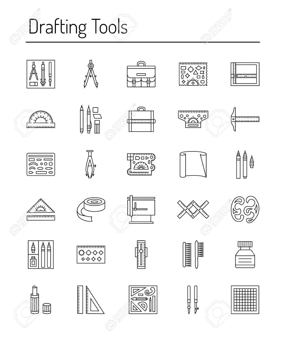 drawing tools computer drafting tools icon collection engineering drawing line icons set kit ruler tools icon collection drawing icons