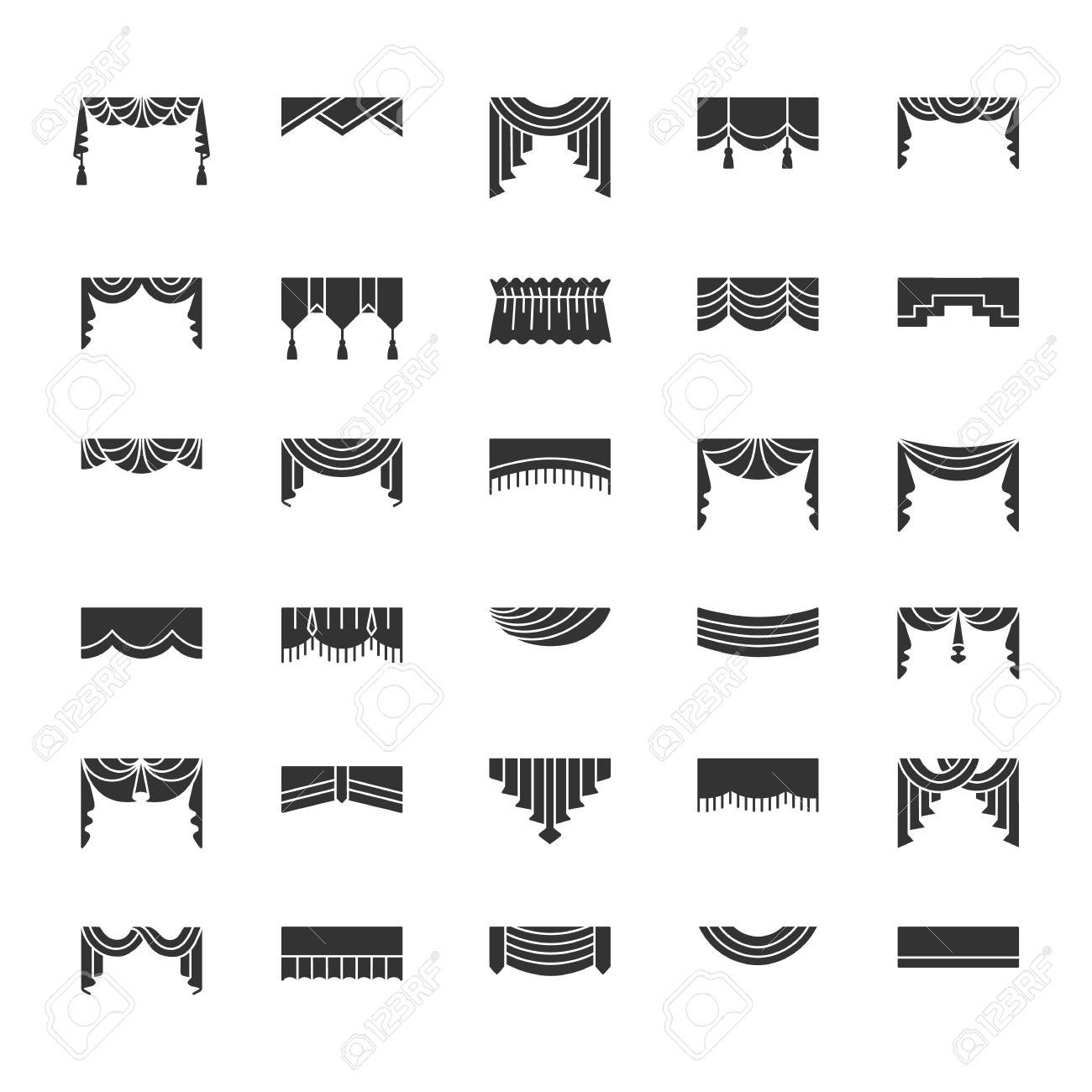 Scarves & valances. Window top treatments. Different styles of draperies and blinds. Swag, fan, straight, scalloped, pleat pelmets. Vector flat icons. Isolated objects on white background. - 104726292