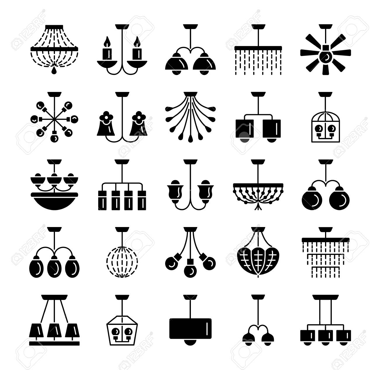 Modern Vintage Ceiling Lamps Set Of Hanging Light Fixtures Royalty Free Cliparts Vectors And Stock Illustration Image 106229297