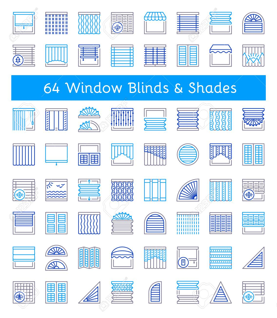 Blinds & Shades. Sun protection. Room darkening & light blocking jalousies. Interior shutters & panel curtains. Home decor elements. Window coverings. Line icon collection. - 106229308