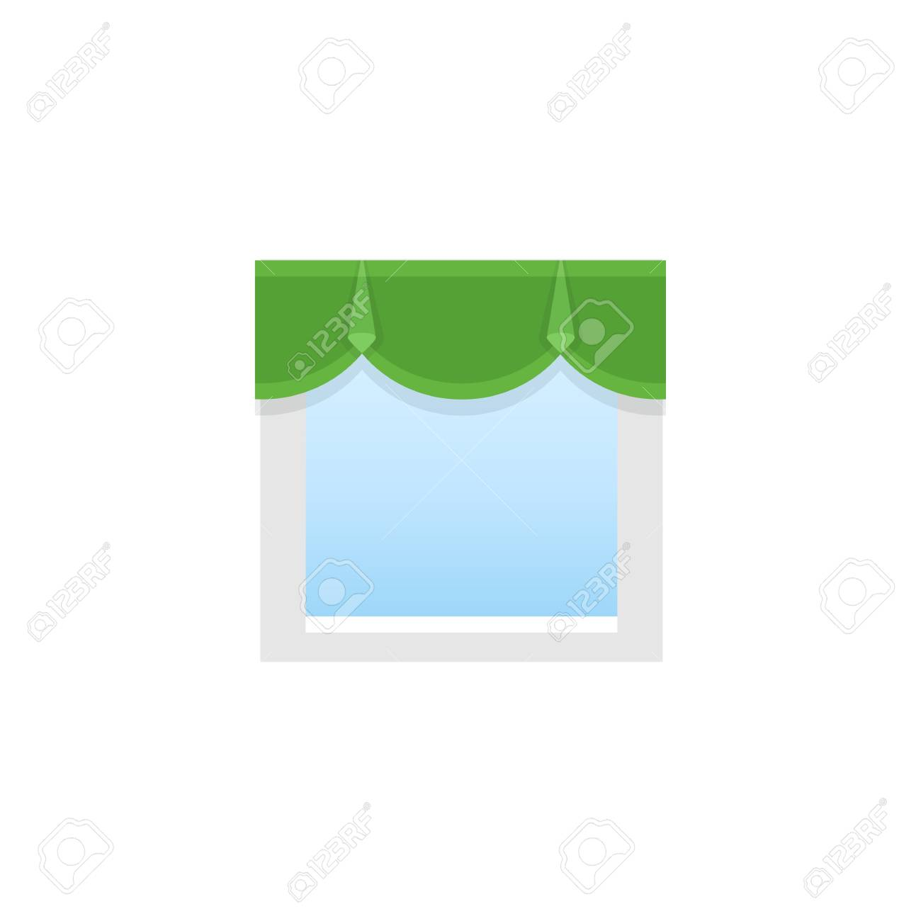 Green fabric pelmet. Vector illustration. Flat icon of scalloped valance. Element of home & office top window decoration. Front view. - 106229339