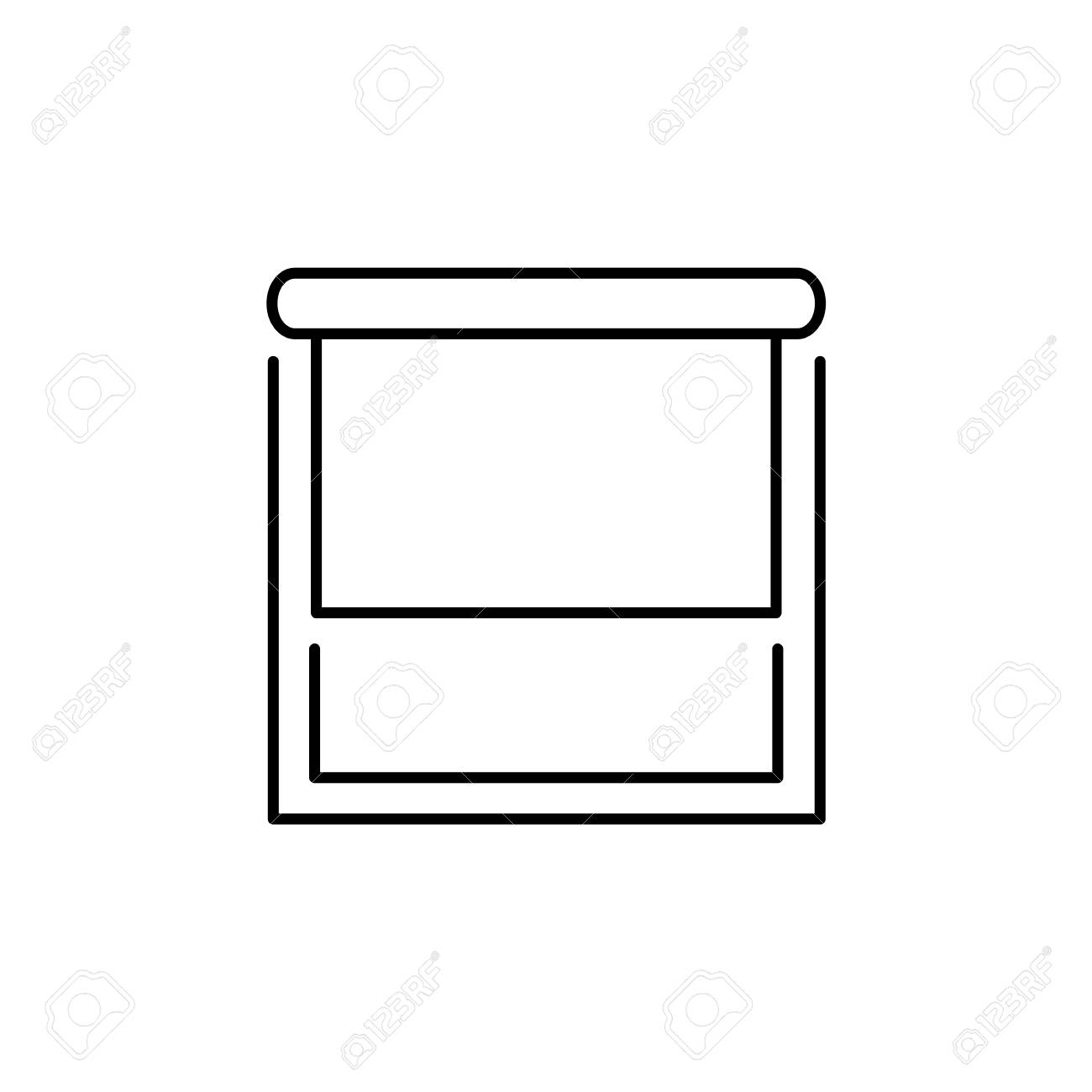 Line illustration of roller fabric blind. Sun protection shade. Room darkening & light blocking jalousie. Isolated object on white background - 106444204