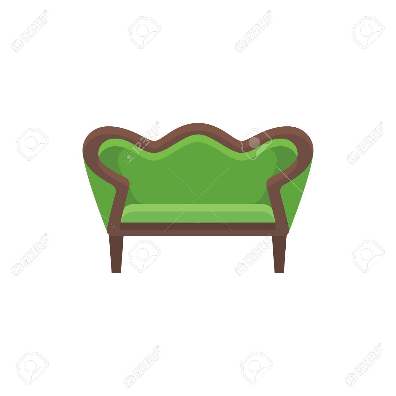 Miraculous Green Vintage Loveseat Double Sofa Vector Illustration Flat Machost Co Dining Chair Design Ideas Machostcouk
