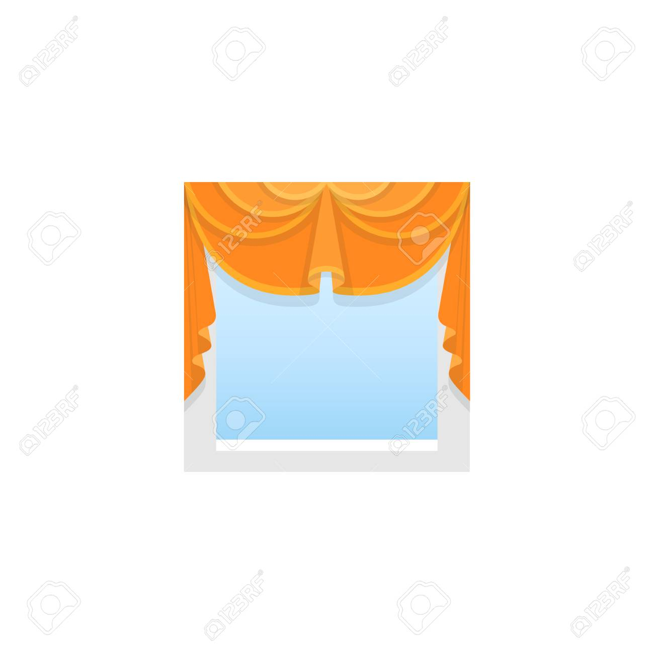 Orange fabric valance with 2 asymmetric swags. Vector illustration. Flat icon of pelmet. Element of home & office window decoration. Front view. - 108095067