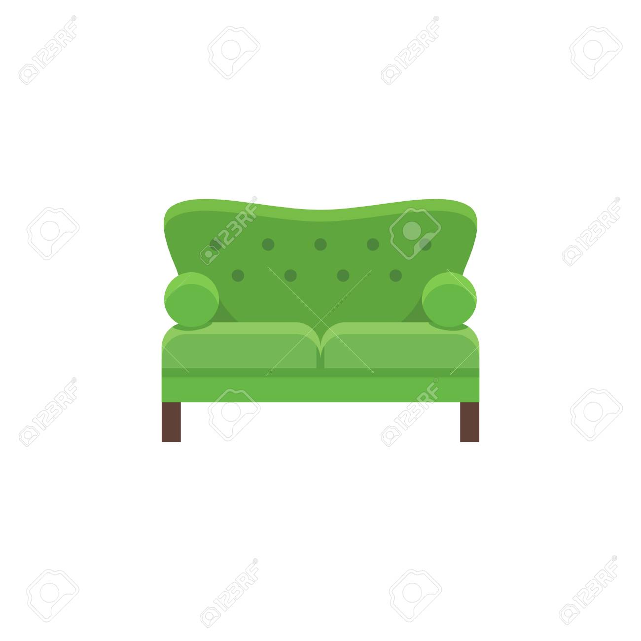 Green Loveseat Double Sofa Vector Illustration Flat Icon Of