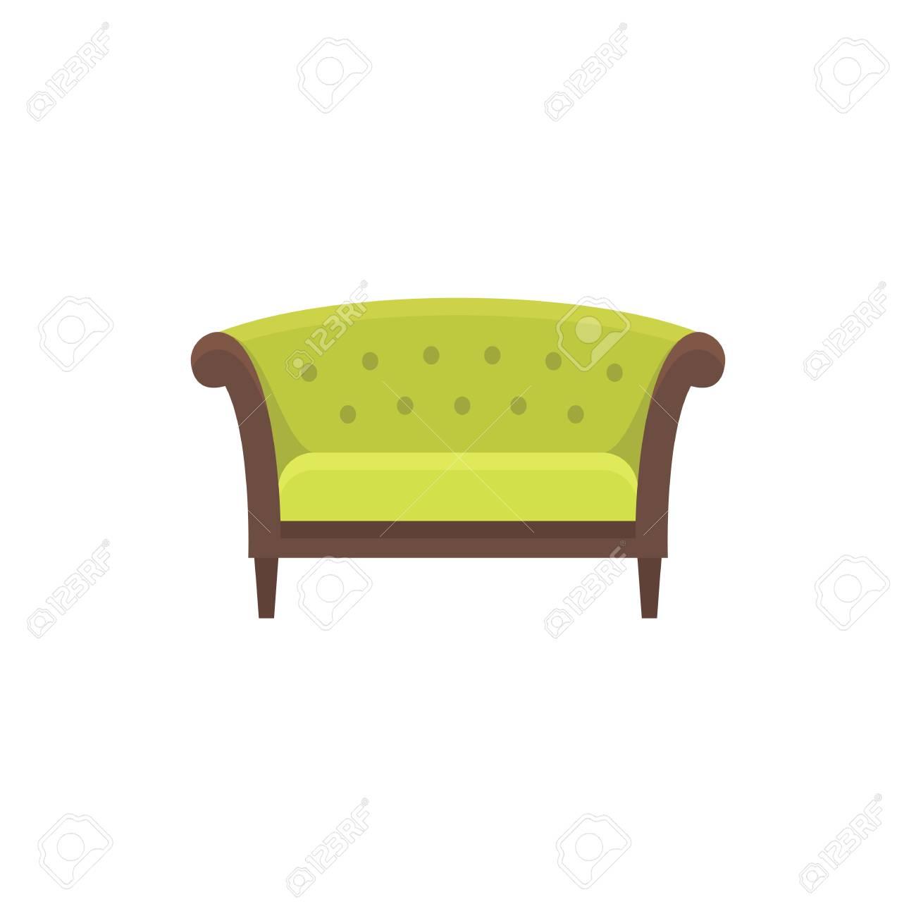 Green chesterfield sofa sofa. Vector illustration. Flat icon..