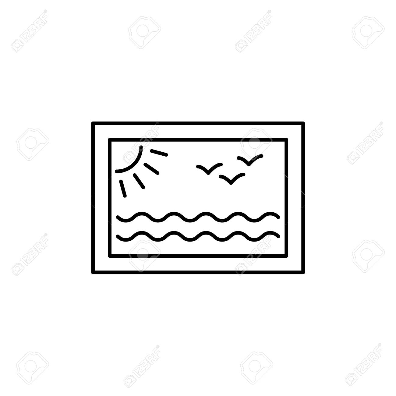 Black White Vector Illustration Of Wall Art Picture Line Icon