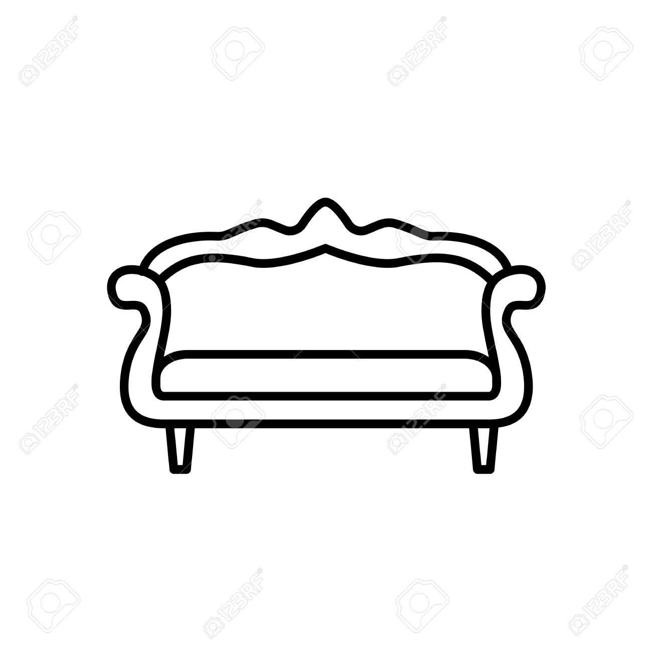 Black White Vector Illustration Of Camelback Sofa Line Icon