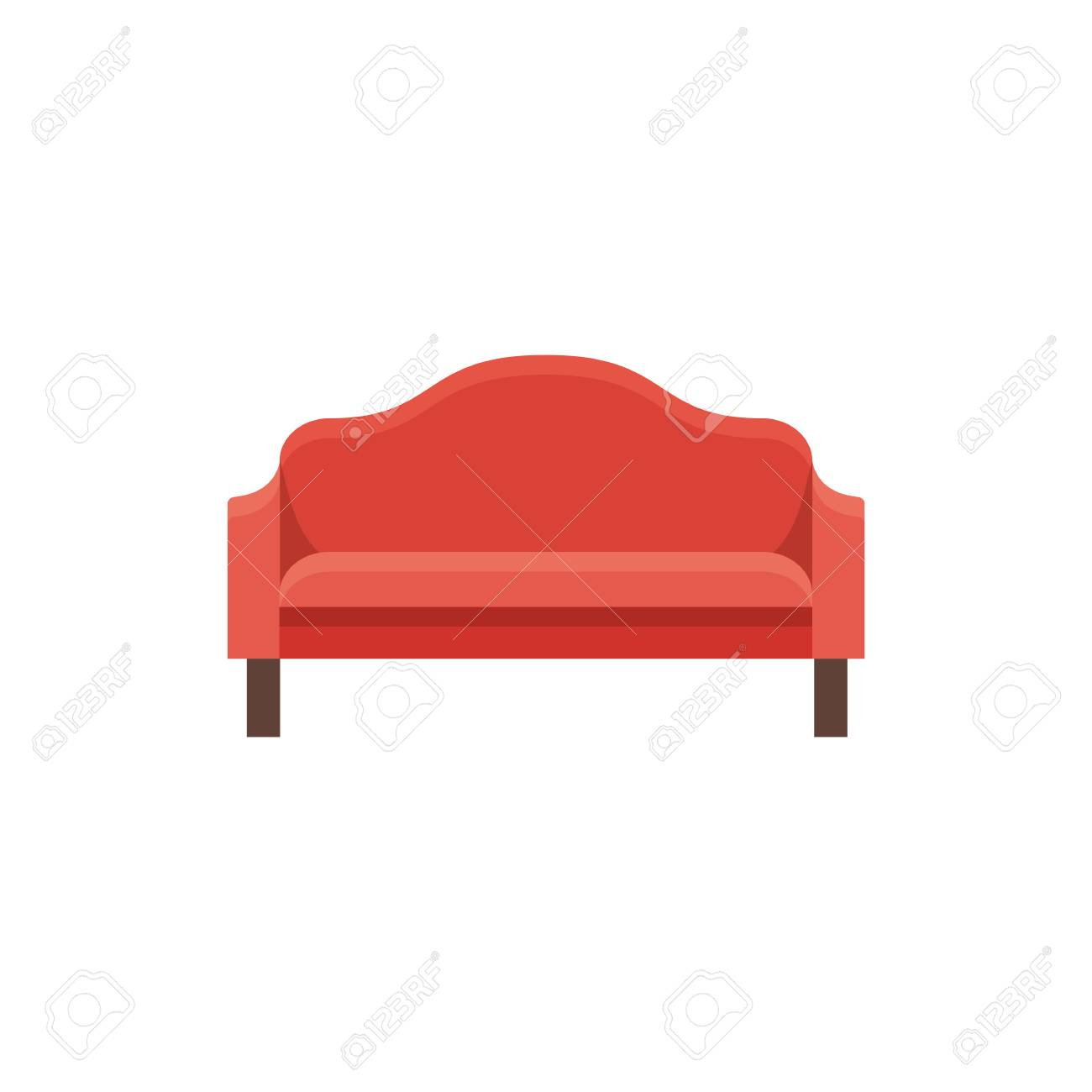 Red Sofa Vector Illustration Flat Icon Of Settee Element Of