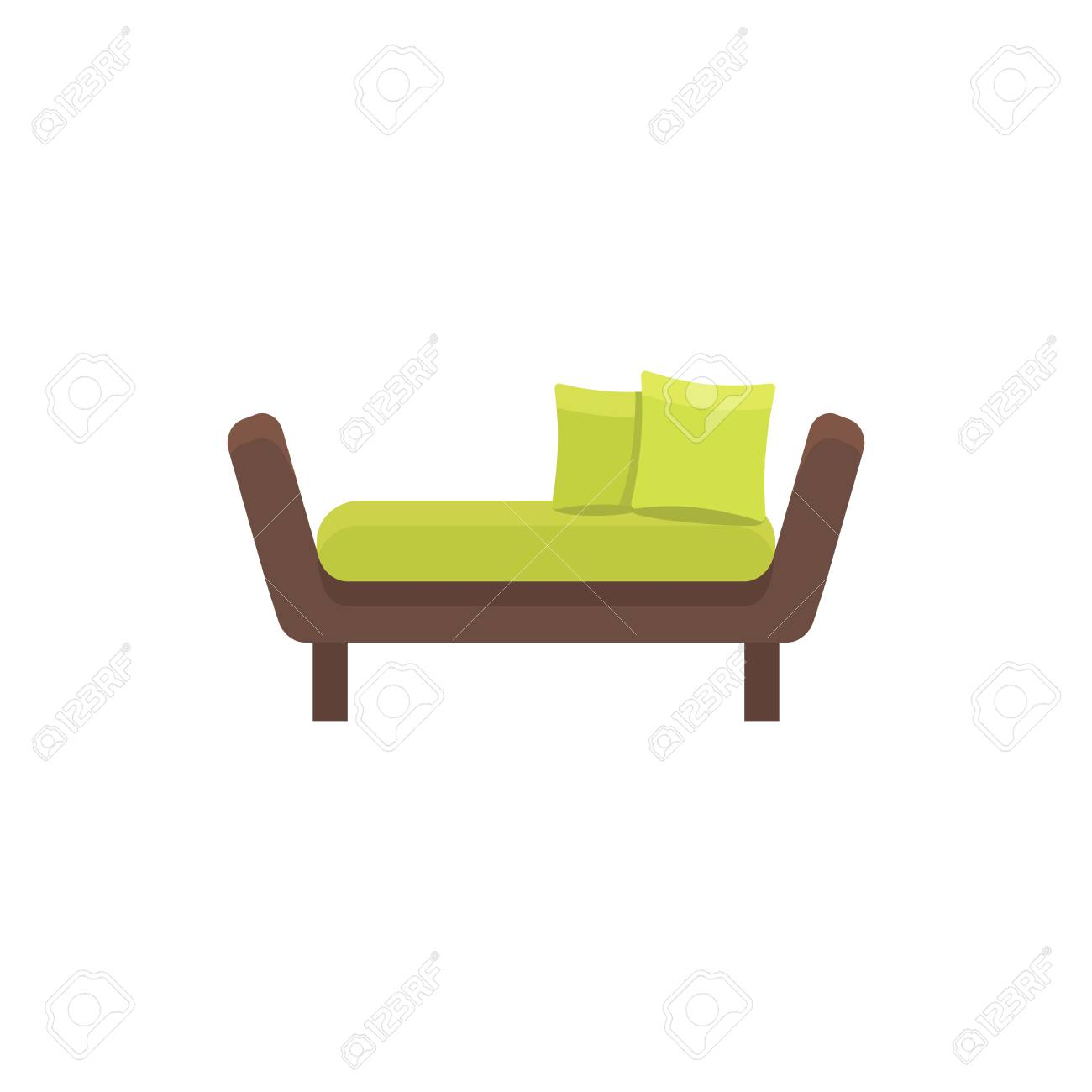 Green Daybed With Pillows Comfortable Sofa Vector Illustration