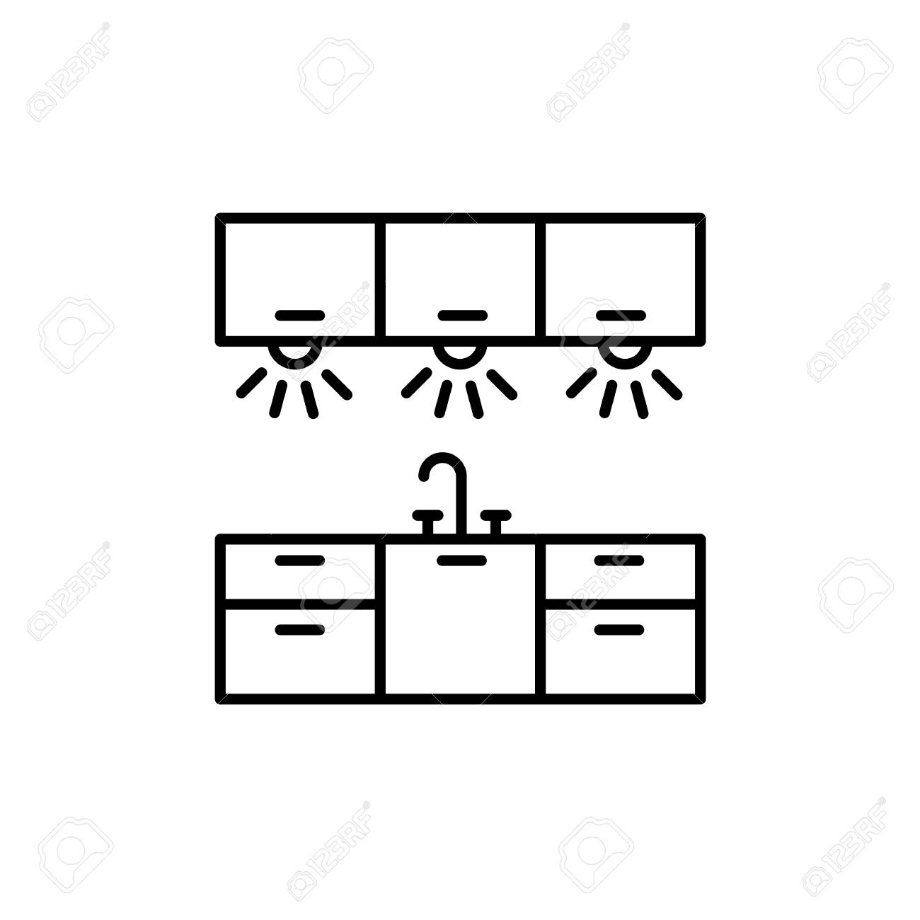 Vector Illustration Of Cabinet Lighting Line Icon Of Kitchen