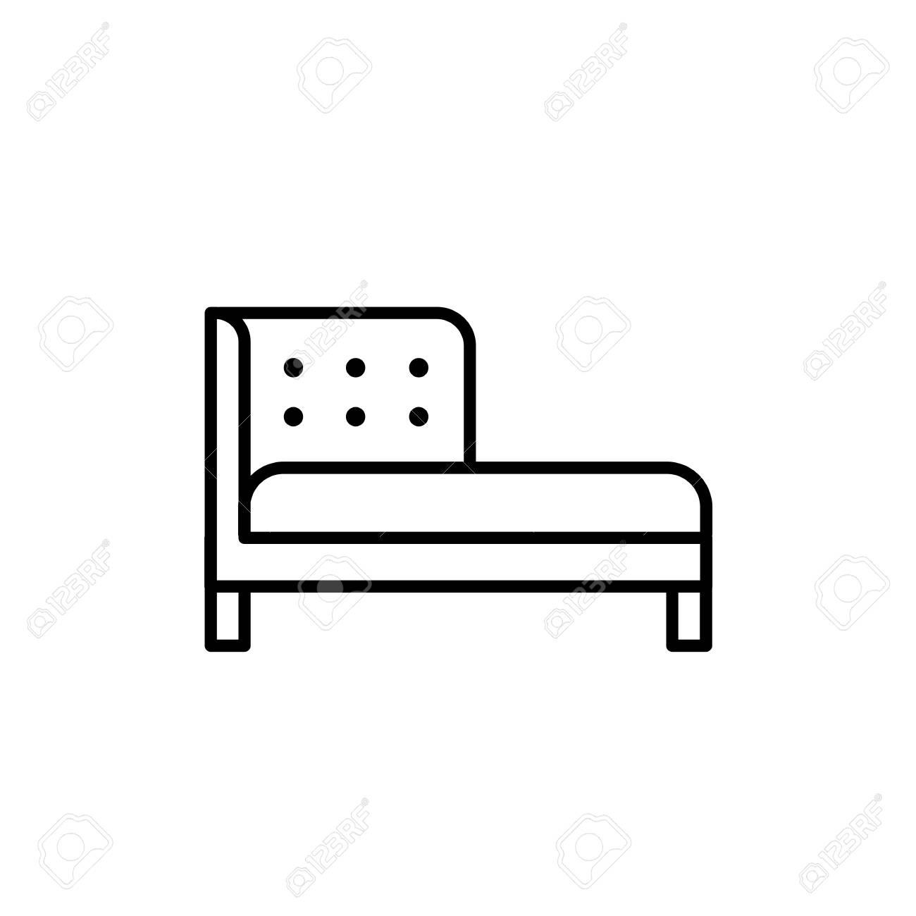Black & white vector illustration of chaise lounge sofa. Line..