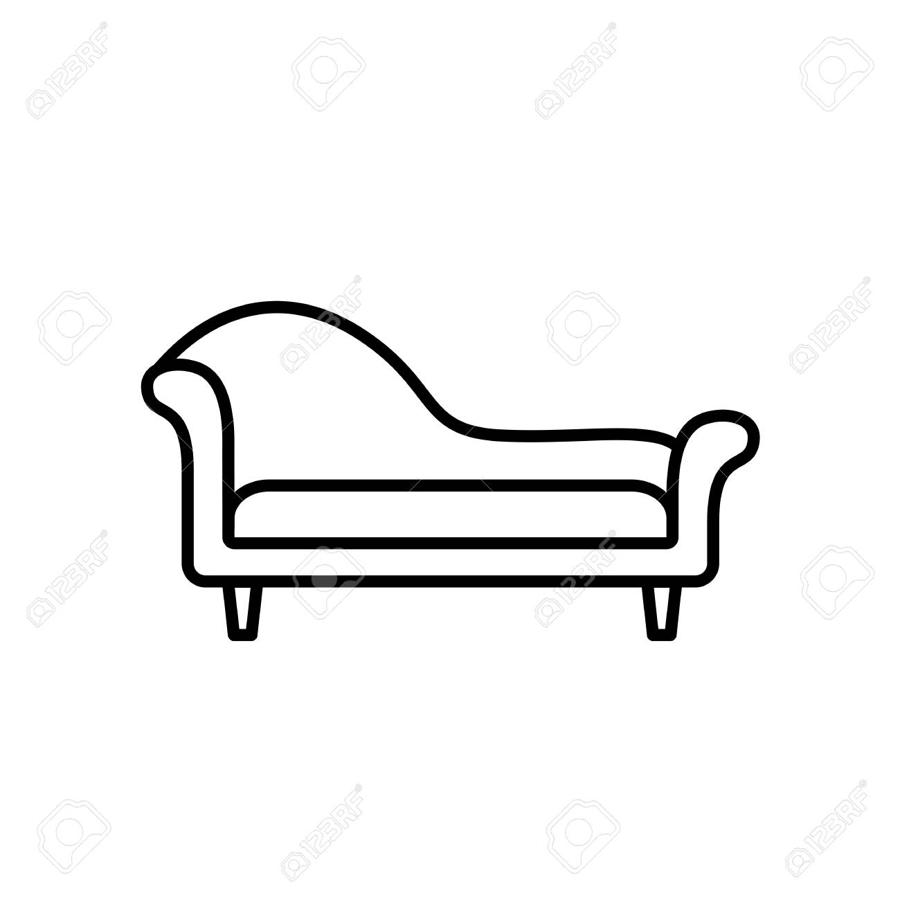 Black White Vector Illustration Of Chaise Lounge Sofa Line Royalty Free Cliparts Vectors And Stock Illustration Image 109144315