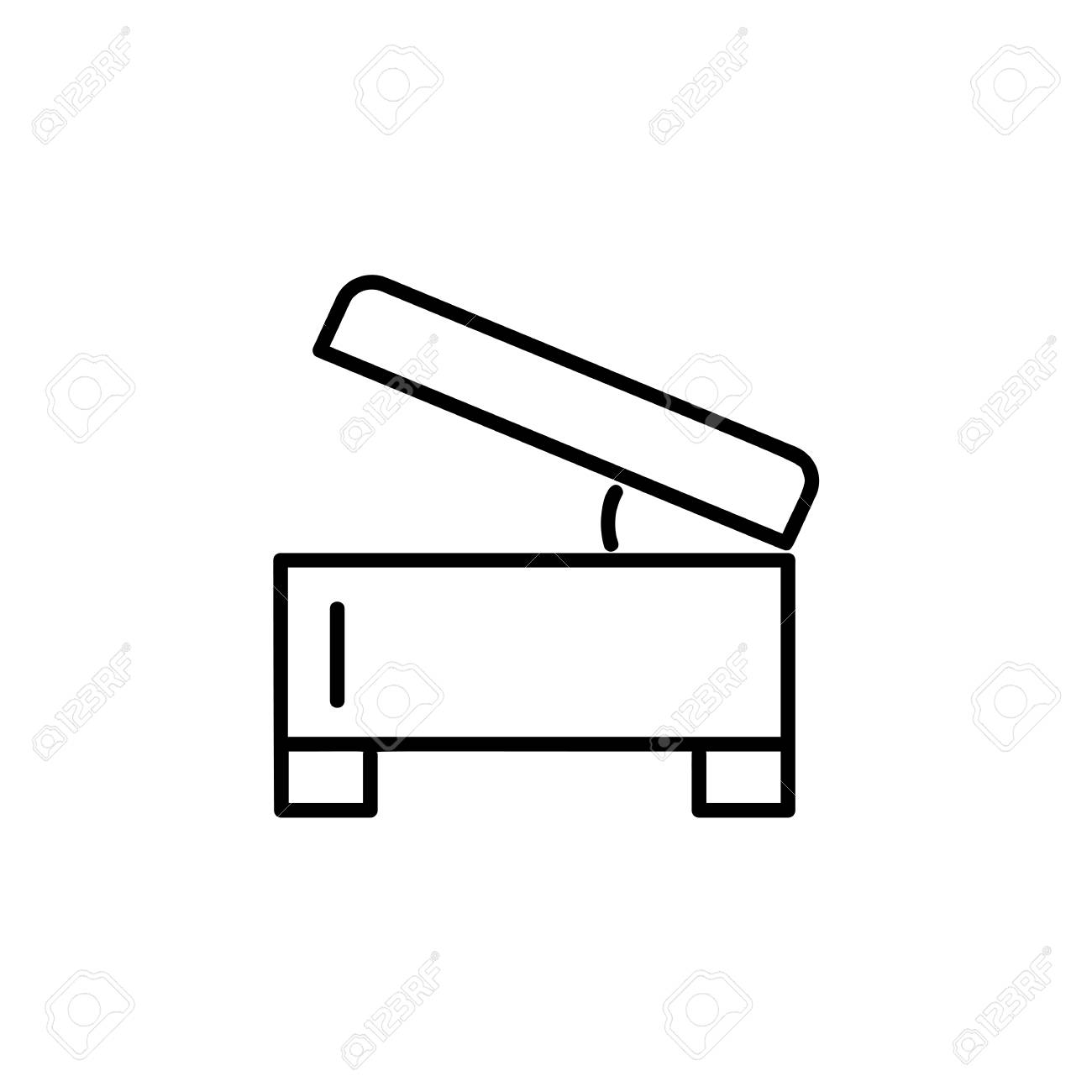 Fine Black White Vector Illustration Of Square Storage Ottoman Ocoug Best Dining Table And Chair Ideas Images Ocougorg