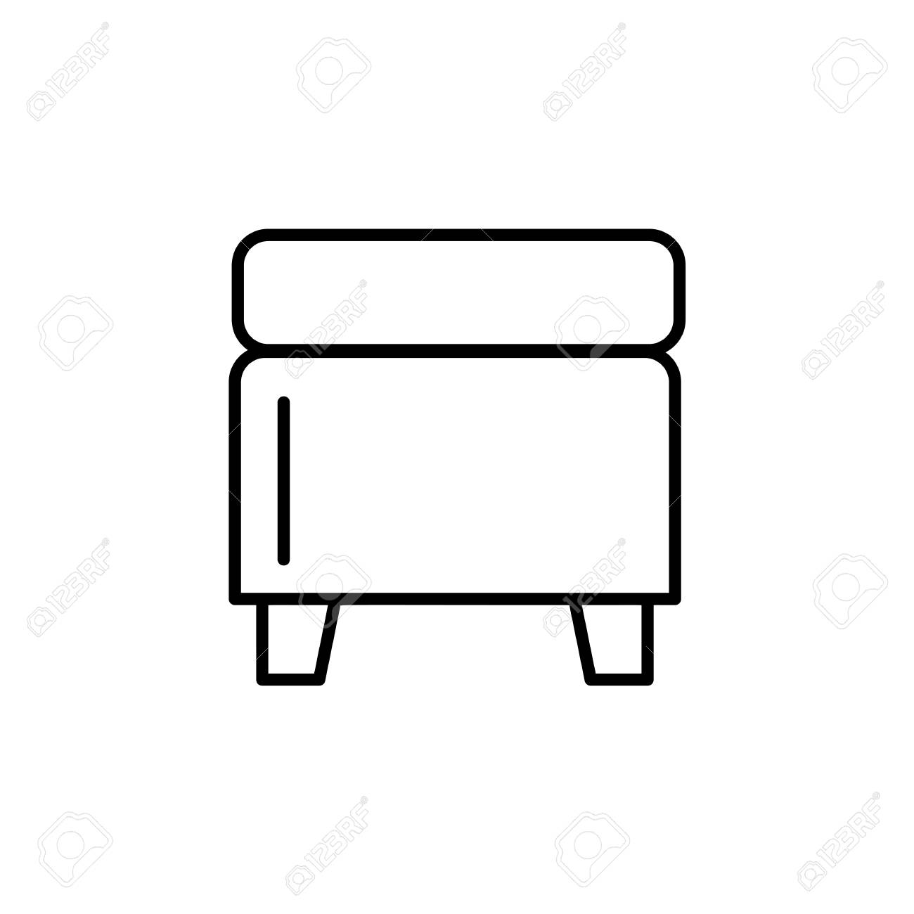 Admirable Black White Vector Illustration Of Square Storage Ottoman Ocoug Best Dining Table And Chair Ideas Images Ocougorg