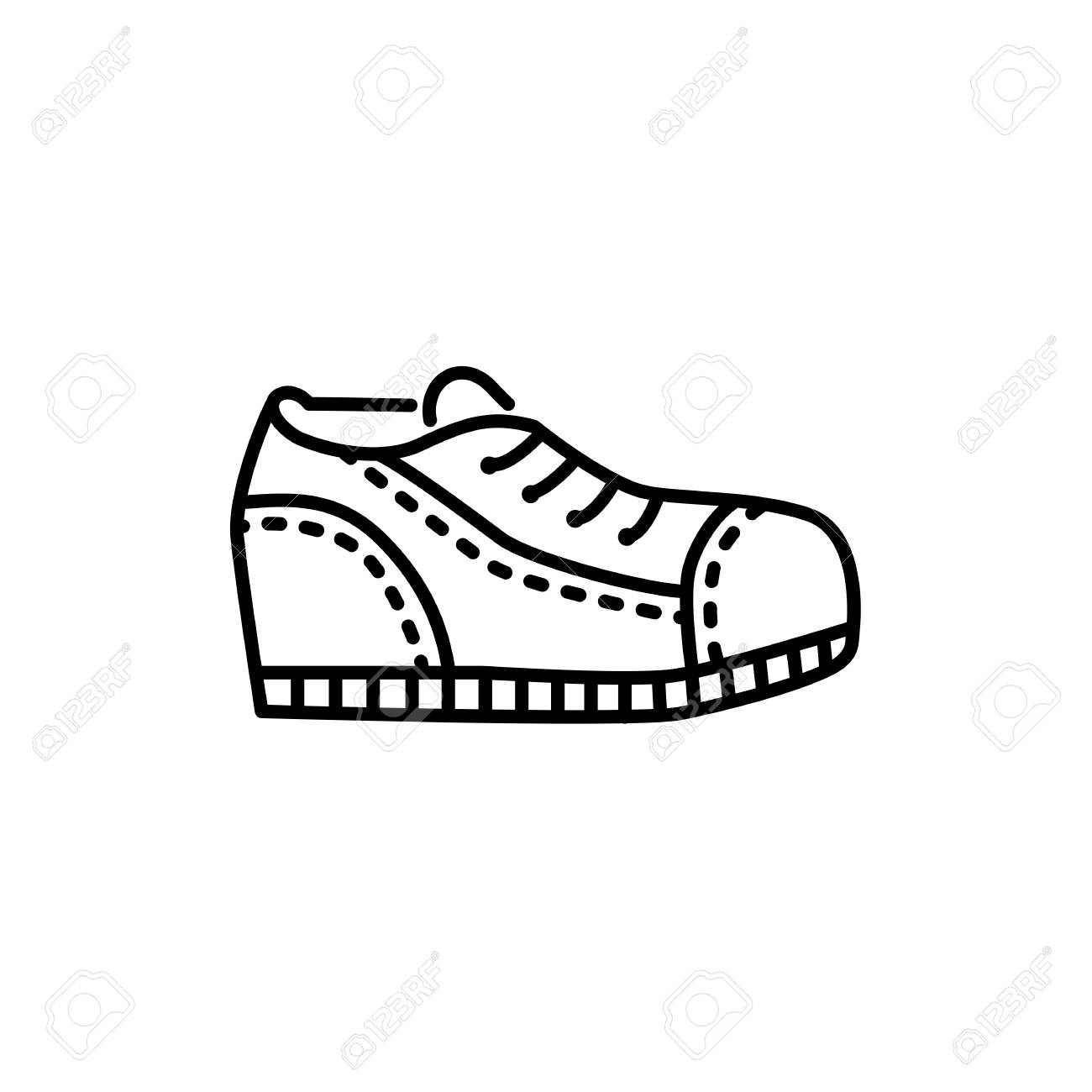FootwearIsolated Blackamp; Of Running On Sport With Background White Icon Vector Illustration LacesMen's Object Shoes ShoesLine Male mNnv8O0w