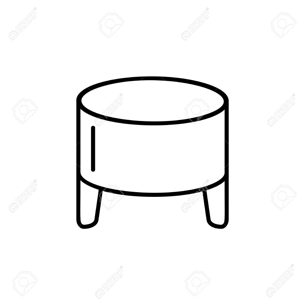 Swell Black White Vector Illustration Of Round Leather Ottoman Pouf Gmtry Best Dining Table And Chair Ideas Images Gmtryco