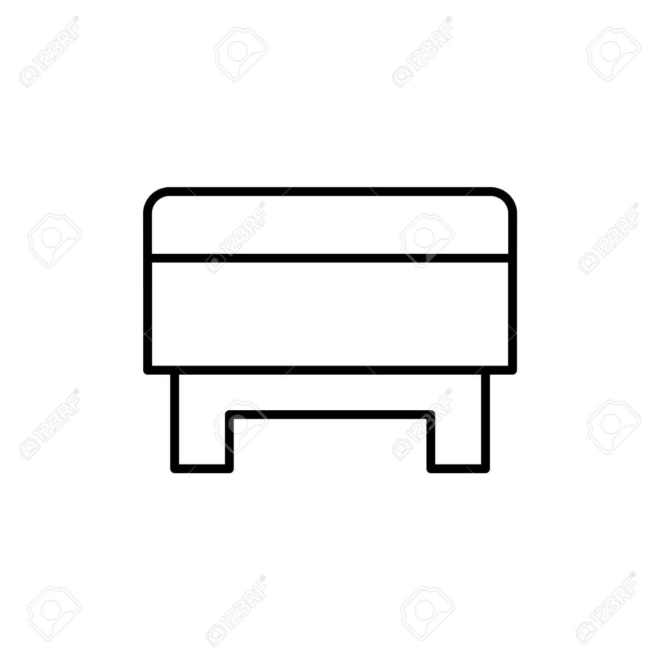 Superb Black White Vector Illustration Of Square Storage Ottoman Unemploymentrelief Wooden Chair Designs For Living Room Unemploymentrelieforg
