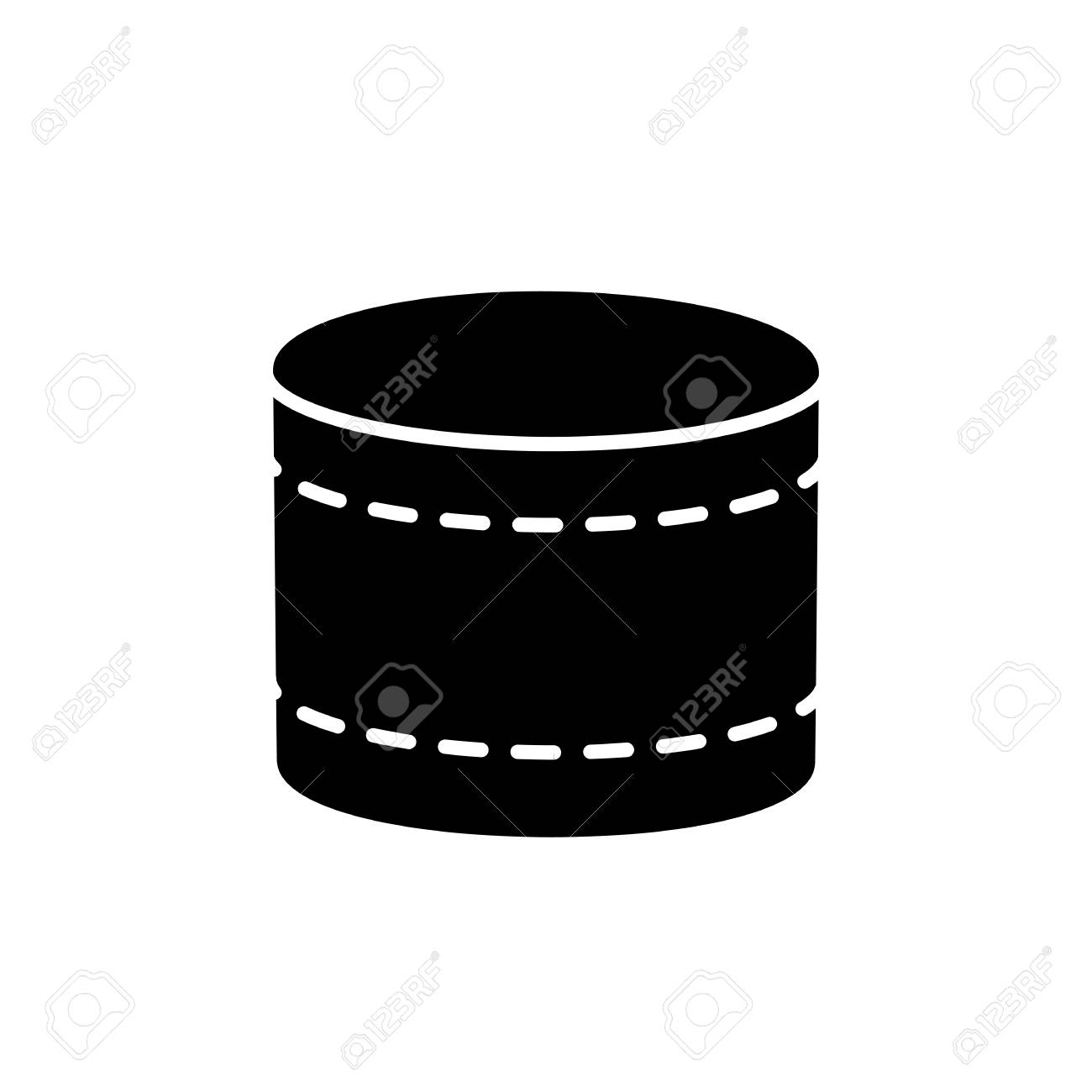 Black White Vector Illustration Of Round Fabric Ottoman Flat Royalty Free Cliparts Vectors And Stock Illustration Image 110862357