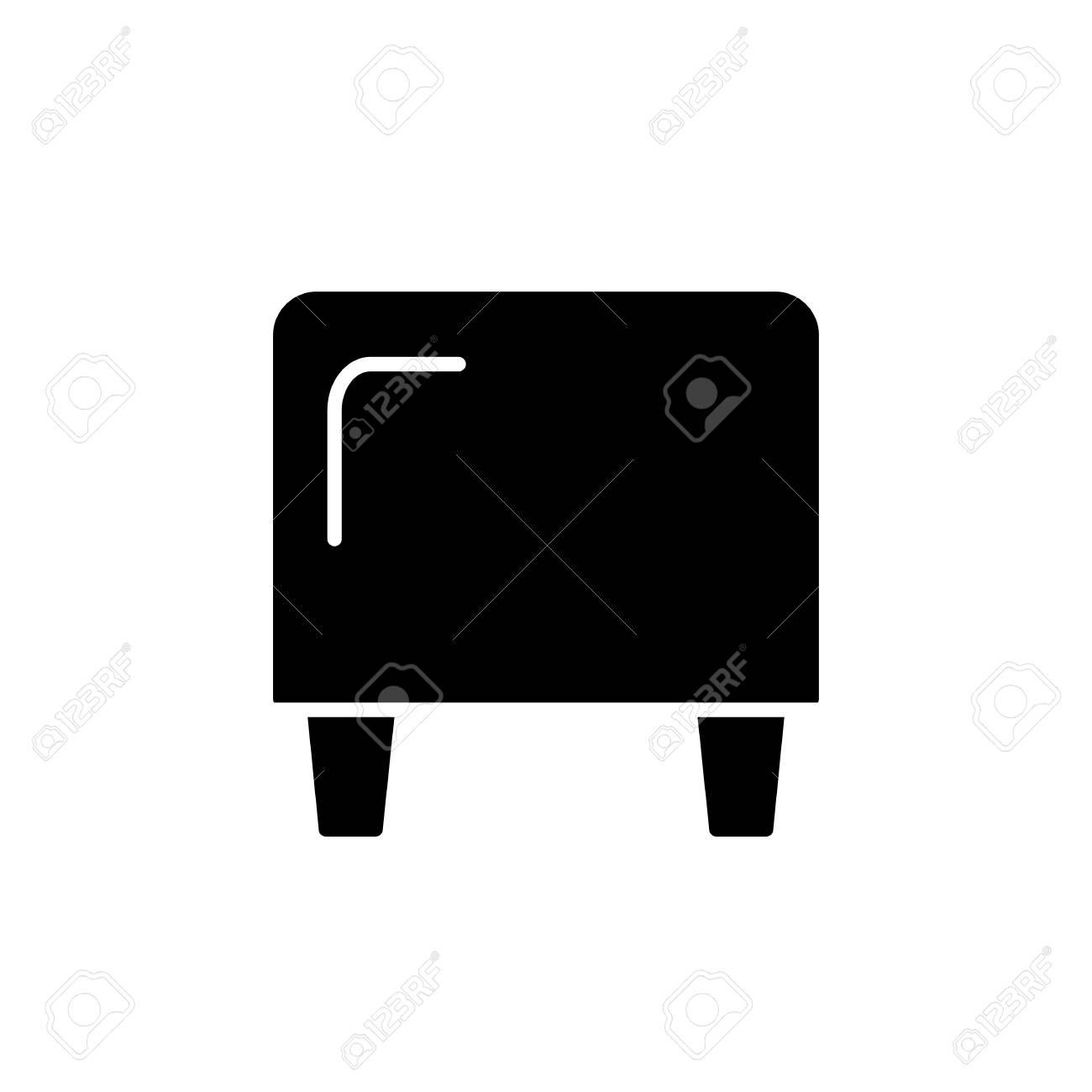 Groovy Black White Vector Illustration Of Cube Leather Ottoman Pouf Evergreenethics Interior Chair Design Evergreenethicsorg