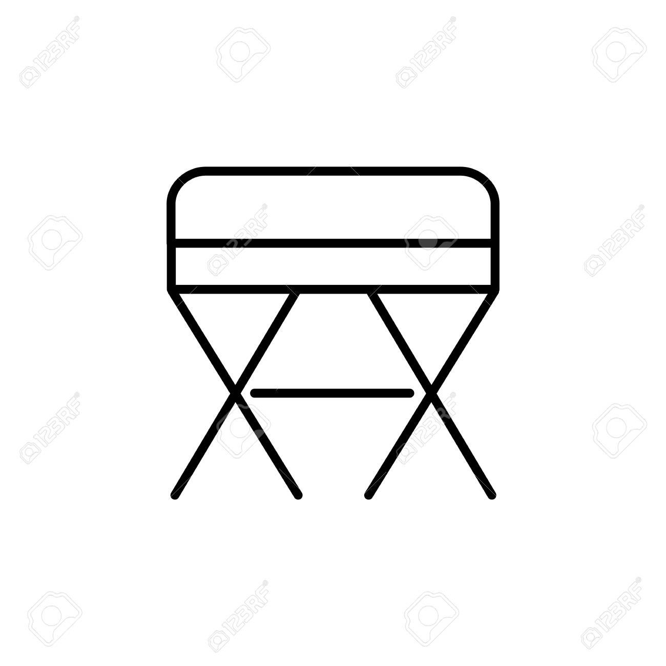 Phenomenal Black White Vector Illustration Of Square Ottoman Pouf Line Evergreenethics Interior Chair Design Evergreenethicsorg
