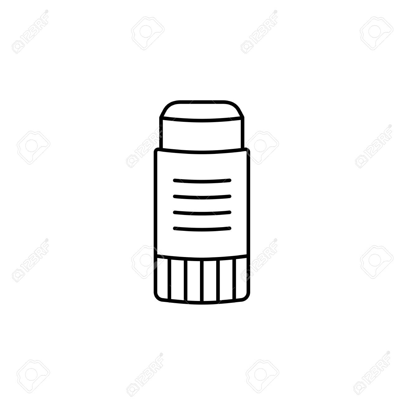 black & white vector illustration of glue stick. line icon of