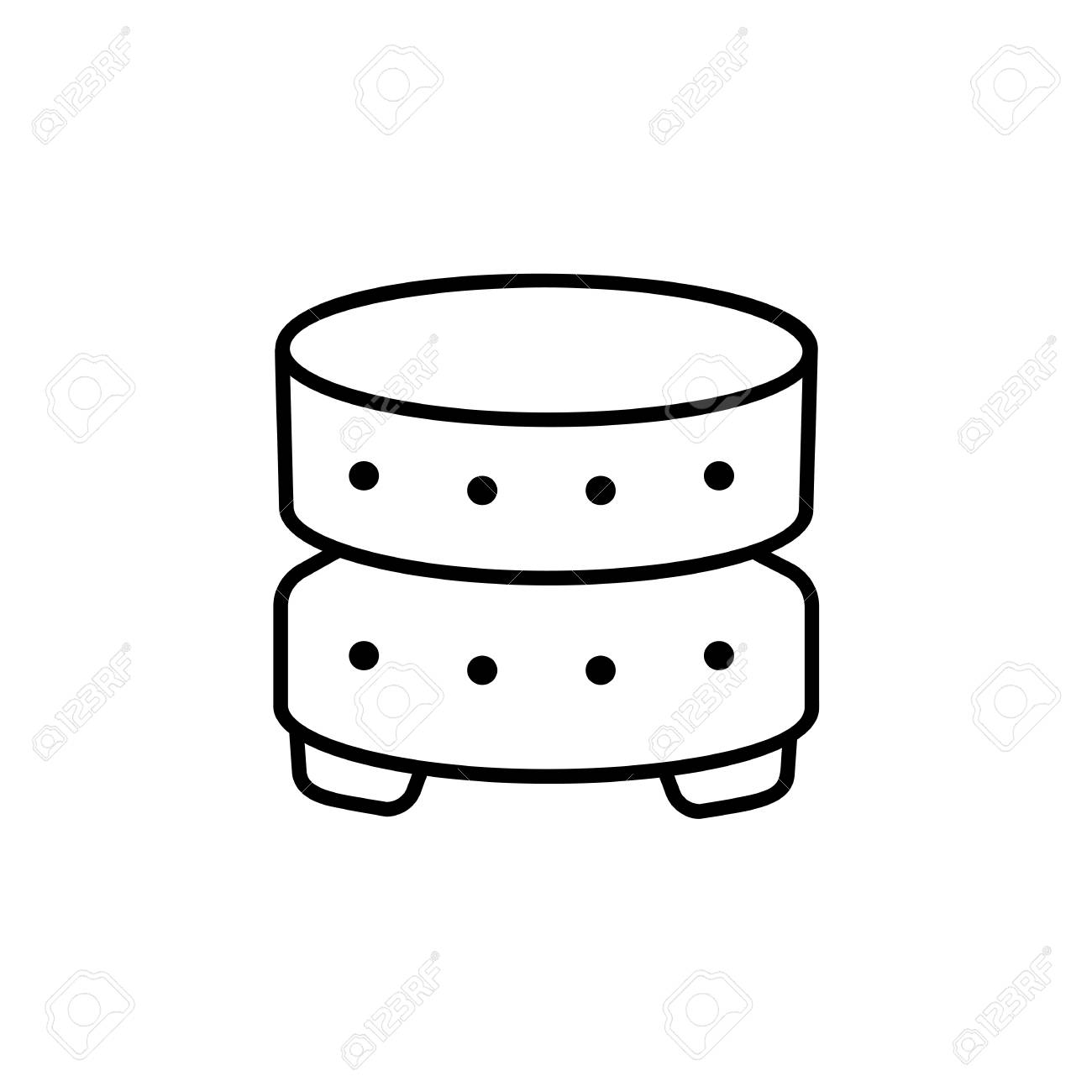 Wondrous Black White Vector Illustration Of Round Leather Ottoman Pouf Gmtry Best Dining Table And Chair Ideas Images Gmtryco