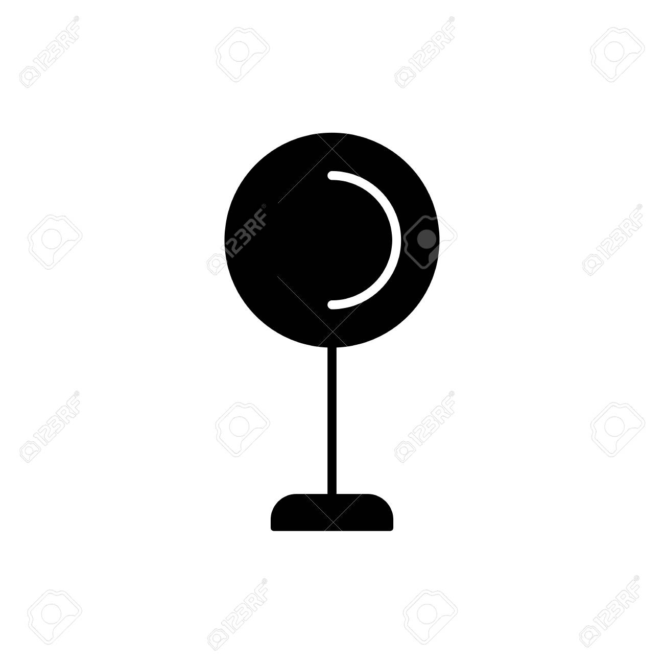 Black White Vector Illustration Of Globe Table Lamp Flat Icon