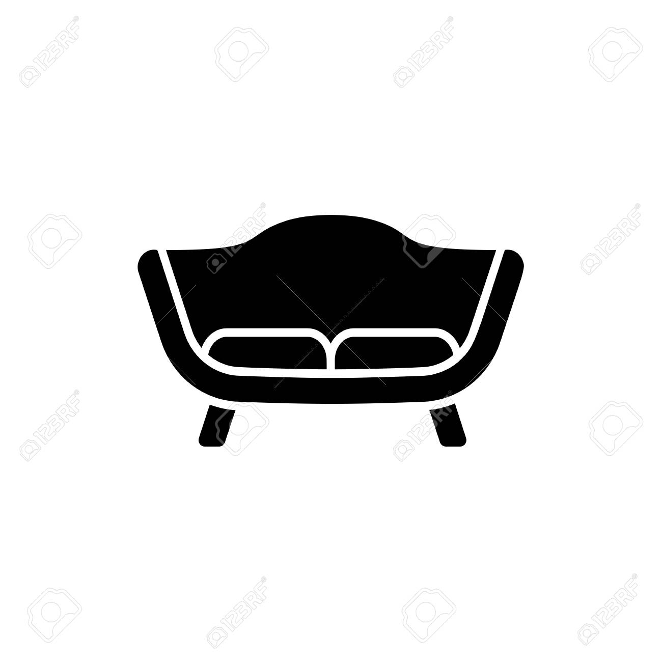 Awesome Black White Vector Illustration Of Loveseat 2 Seaters Sofa Home Interior And Landscaping Ologienasavecom