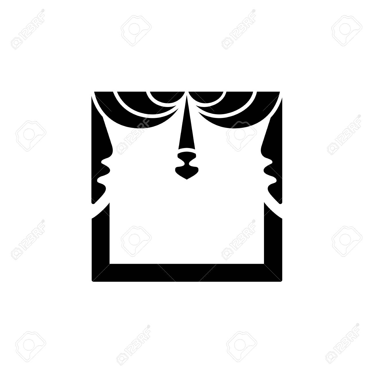 Flat icon of window shade with 2 asymmetric swags. Isolated object on white background - 126841638