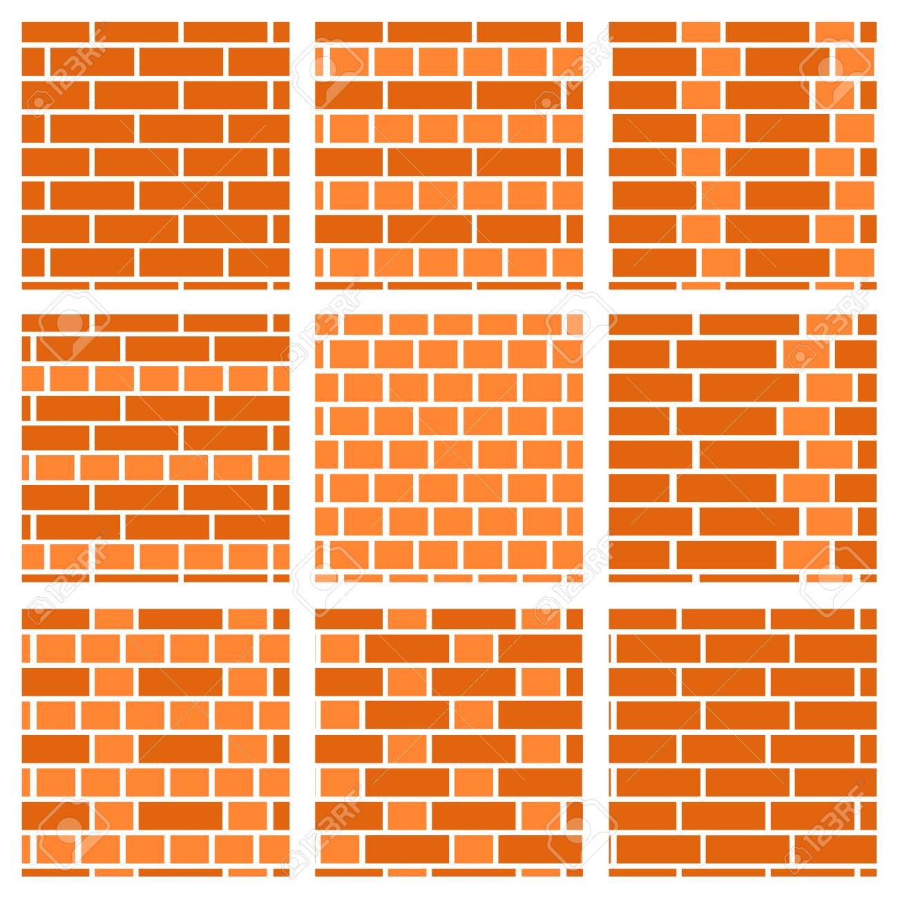 Brown Brick Wall Background Set Of Seamless Vector Patterns