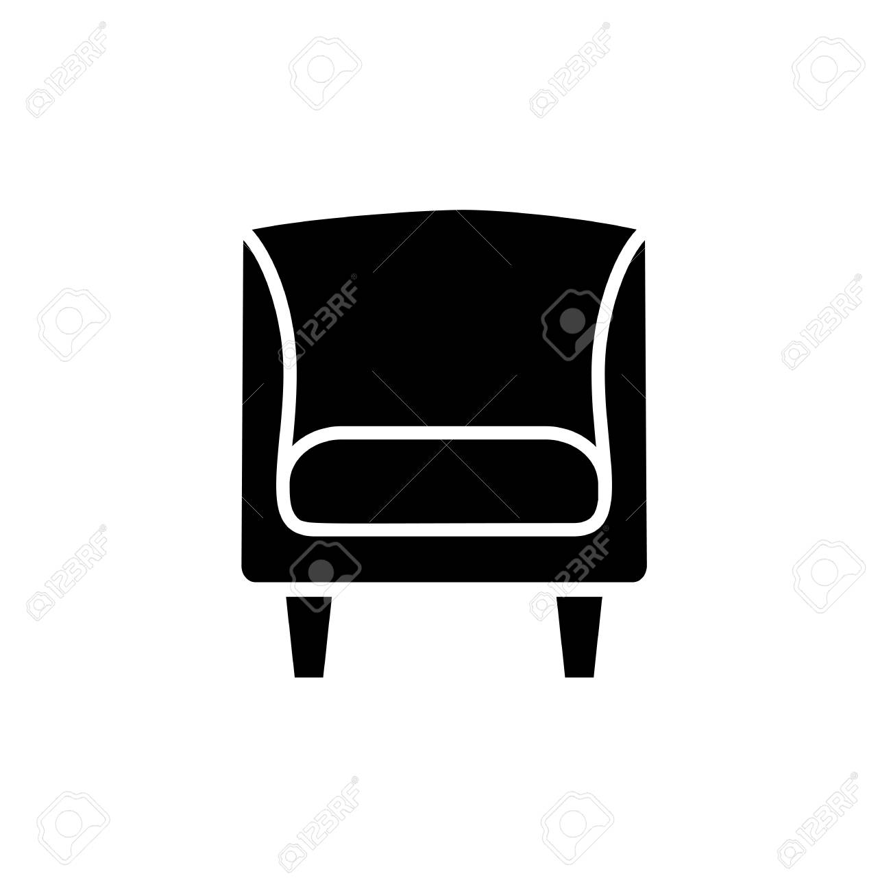 Pleasant Black And White Vector Illustration Of Vintage Wooden Armchair Home Remodeling Inspirations Genioncuboardxyz