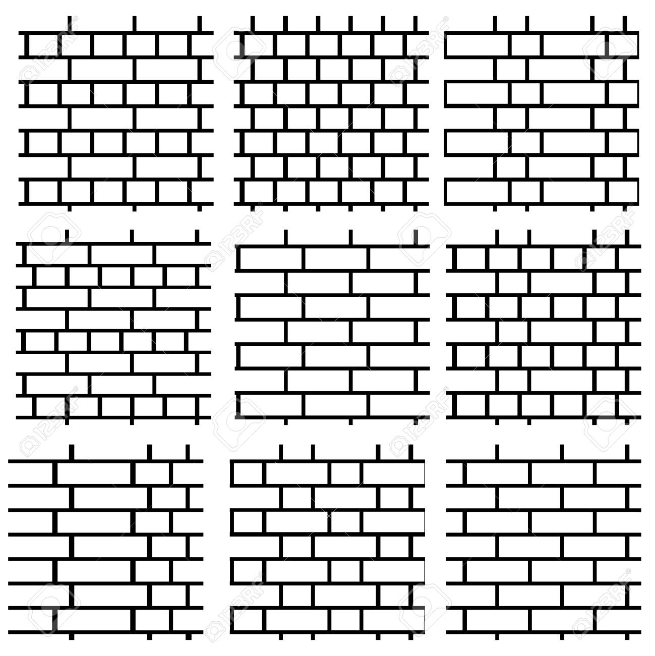White Brick Wall Background Set Of Seamless Vector Patterns