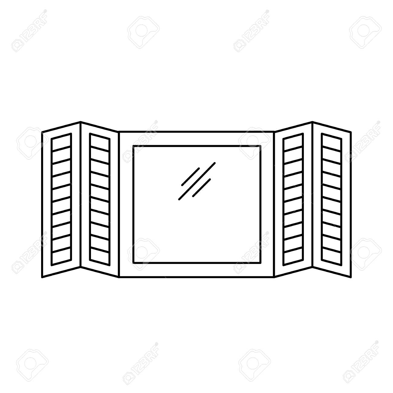 Black White Illustration Of Old Louver Plantation Window Shutter
