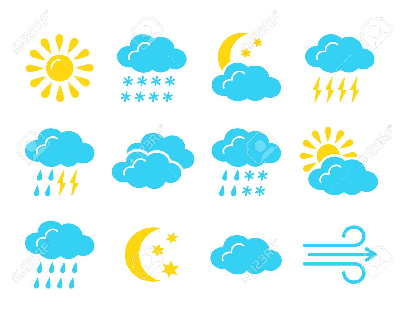 Weather Forecast Symbol Collection Flat Icon Set For Sunny Royalty Free Cliparts Vectors And Stock Illustration Image 117788276