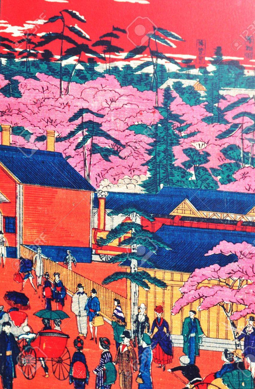 Tokyo, Japan - 02 January, 2012: Traditional Japanese painting in Asakusa district, Tokyo  Stock Photo - 13162139