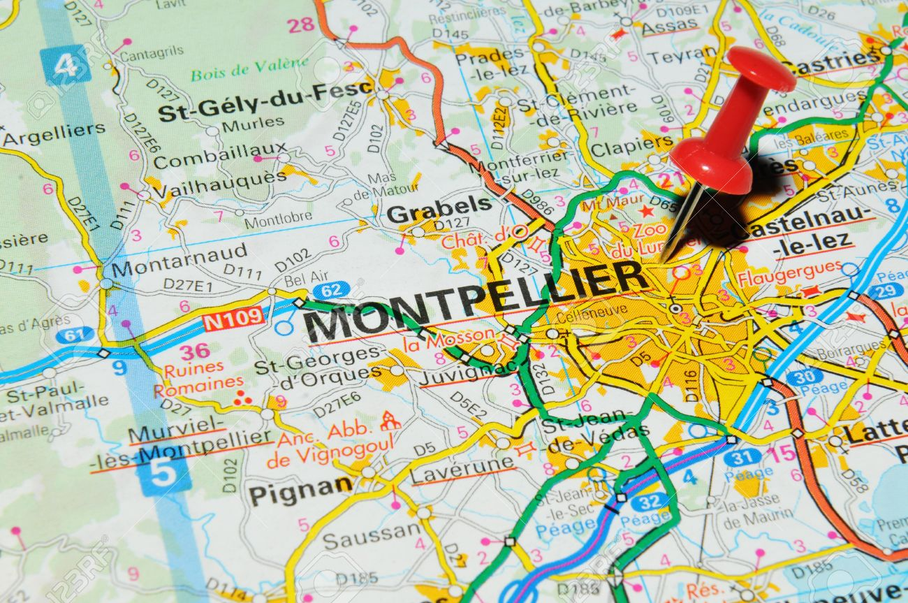 Montpellier On Map Of France.London Uk 13 June 2012 Montpellier France Marked With Red
