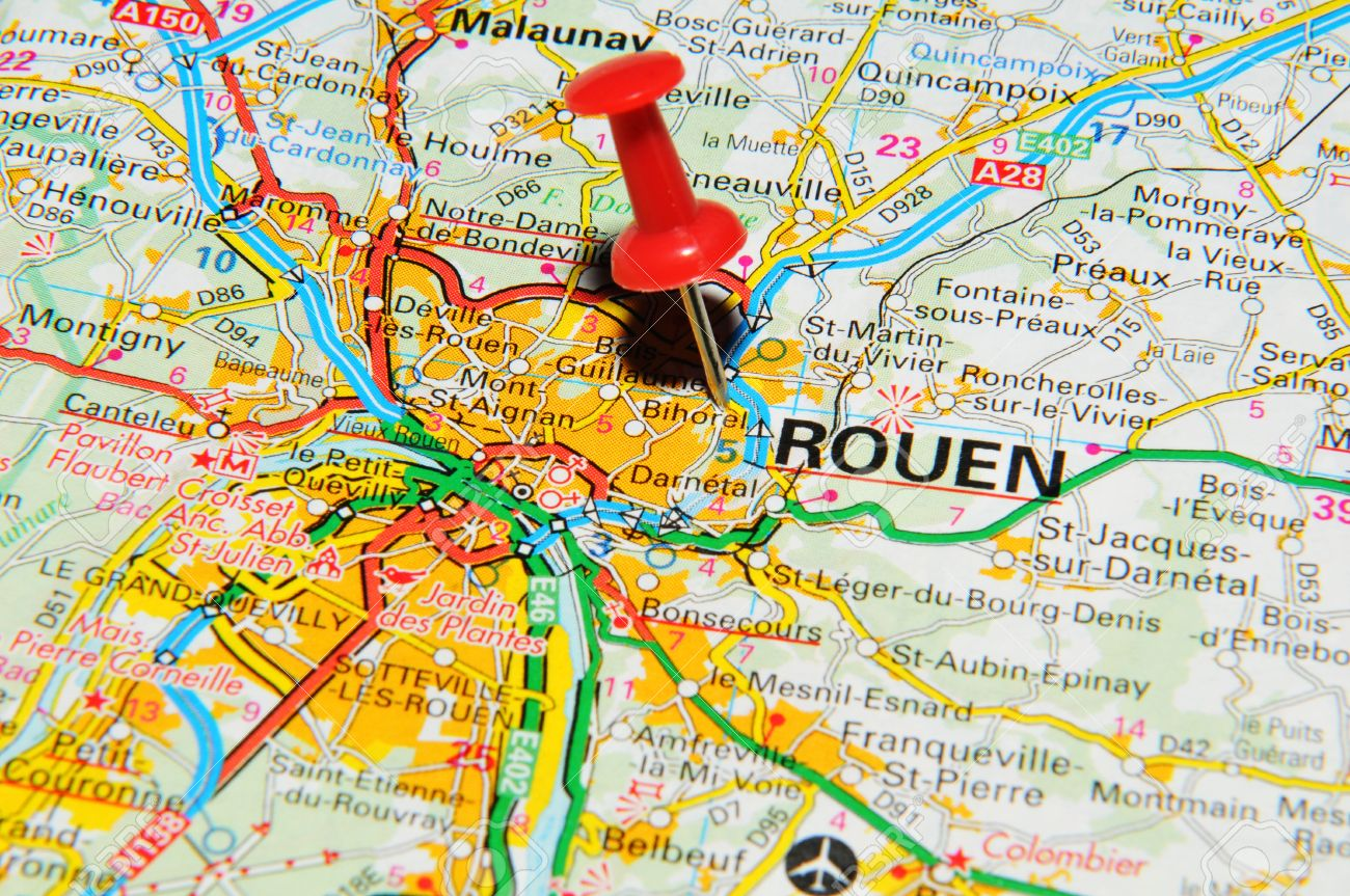London, UK - 13 June, 2012: Rouen, France Marked With Red Pushpin ...