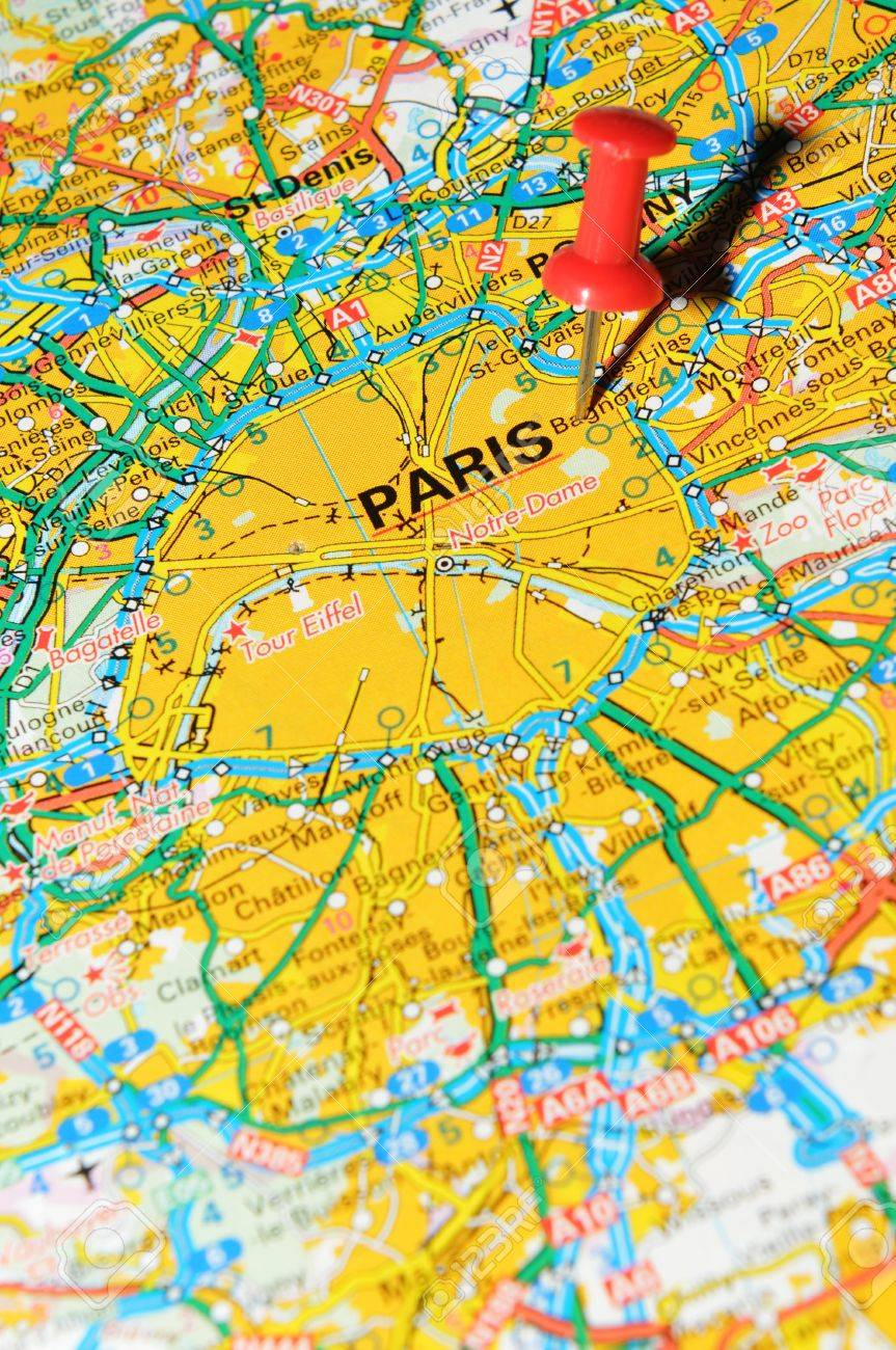 Paris On Europe Map.London Uk 13 June 2012 Paris France Marked With Red Pushpin