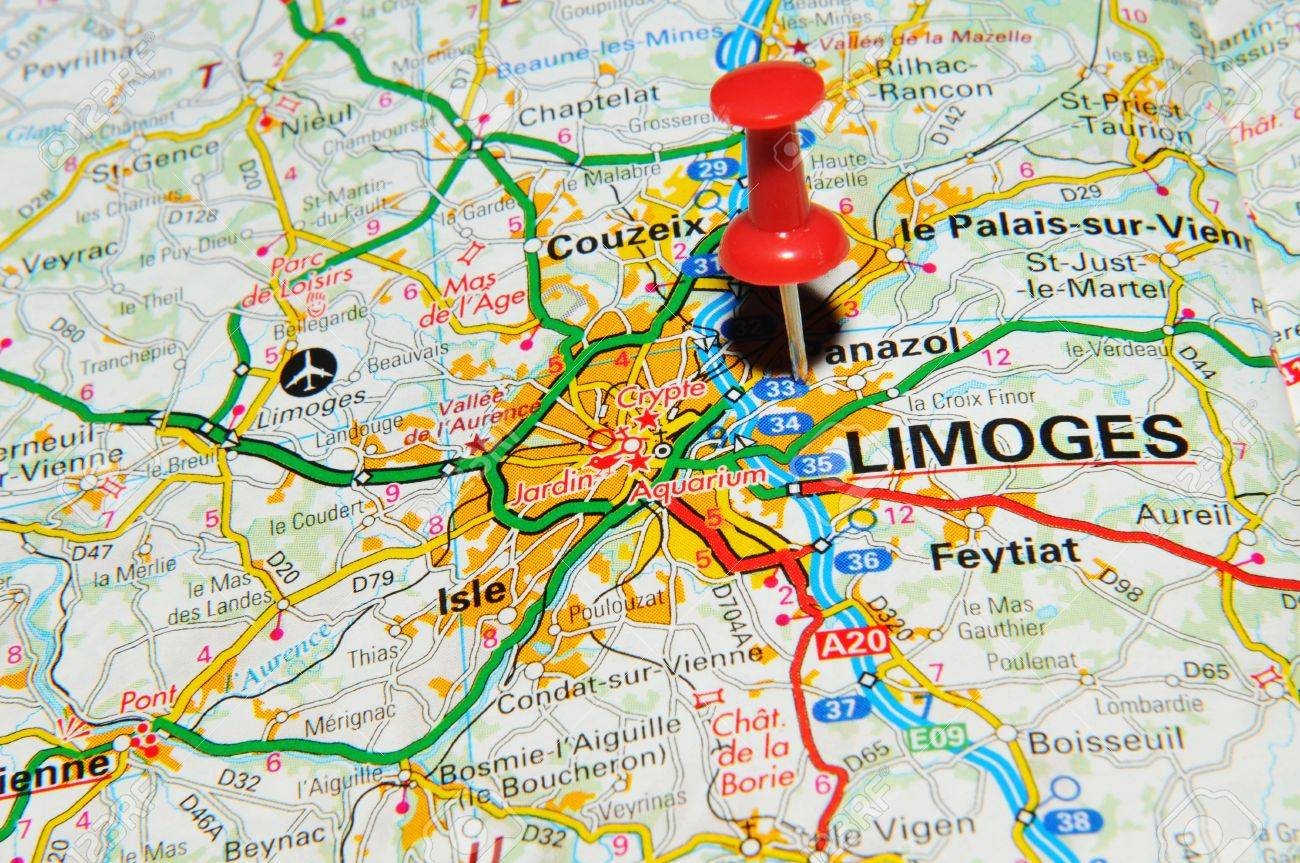 London UK June Limoge France Marked With Red Pushpin - Limoges france map