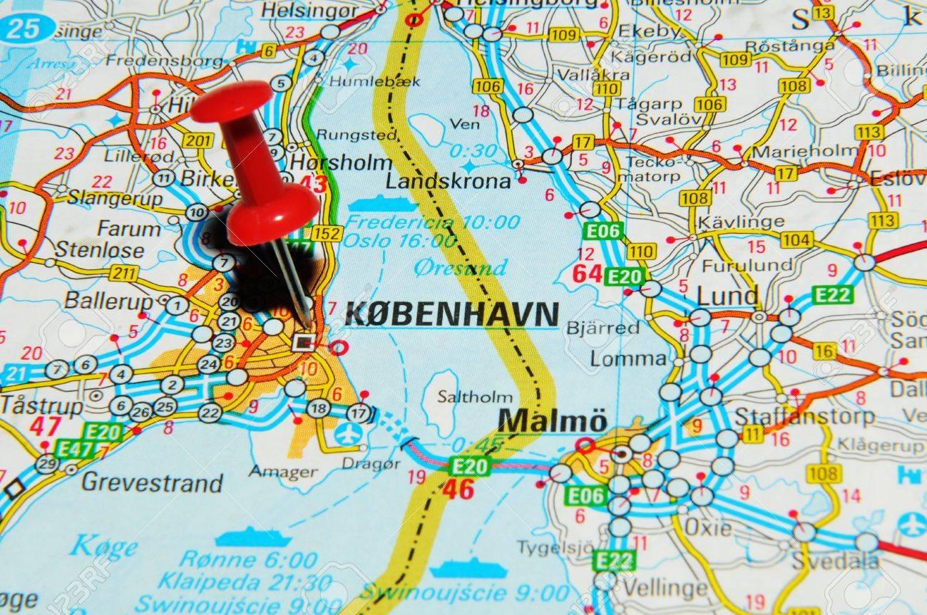 Copenhagen Map Europe.London Uk 13 June 2012 Copenhagen Denmark Marked With Red
