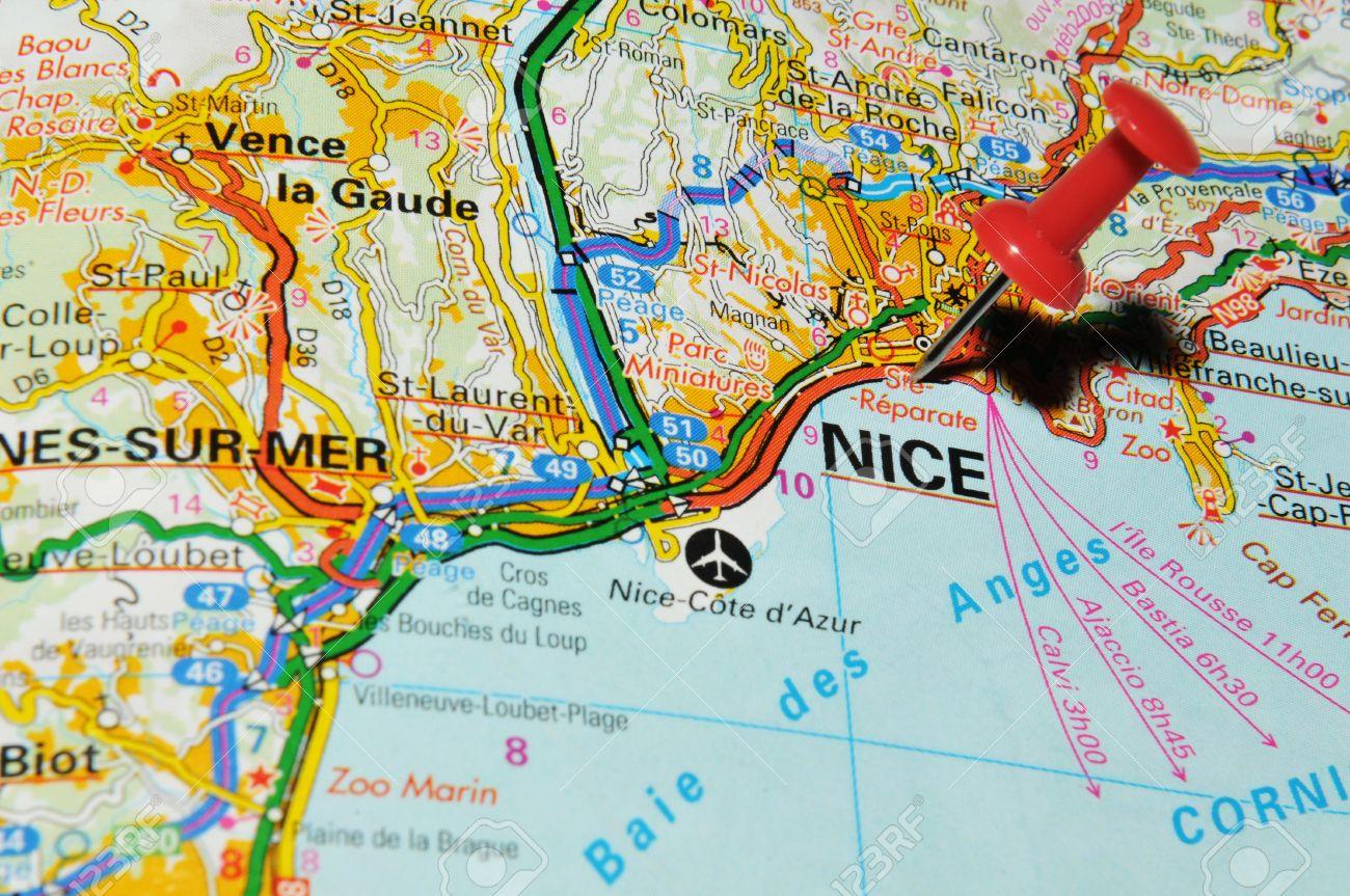 nizza landkarte frankreich London, Großbritannien   13. Juni 2012: Nizza, Frankreich Markiert