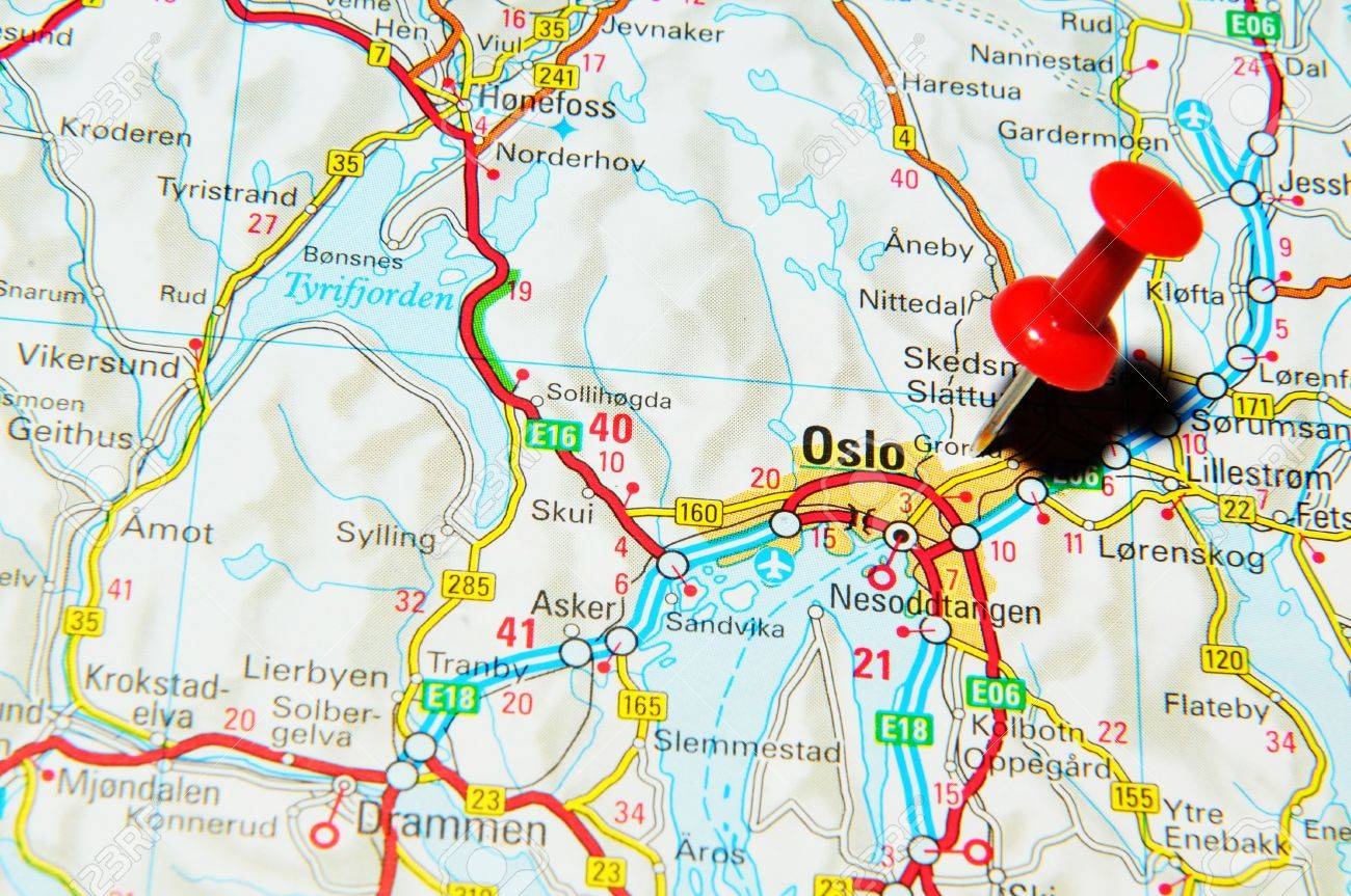 London UK June Oslo Norway Marked With Red Pushpin - Norway map uk