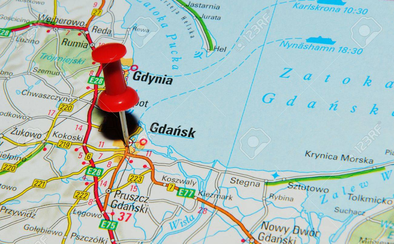 Gdansk Poland Map London, UK   13 June, 2012: Gdansk, Poland Marked With Red Pushpin