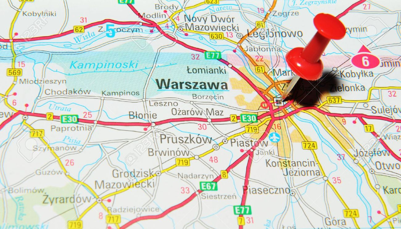 London, UK - 13 June, 2012: Warsaw, Poland Marked With Red Pushpin ...
