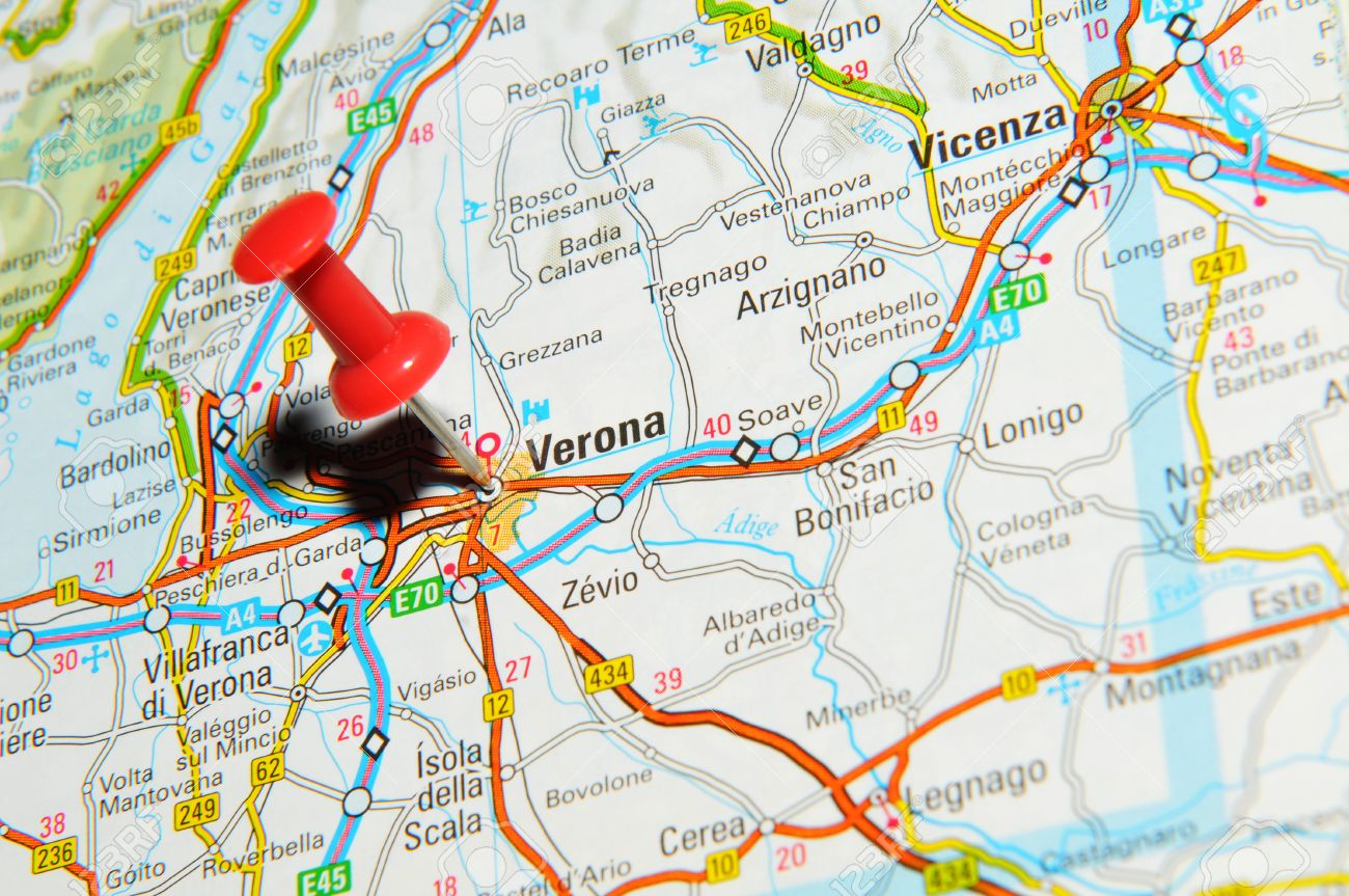 London UK 13 June 2012 Verona Italy Marked With Red Pushpin