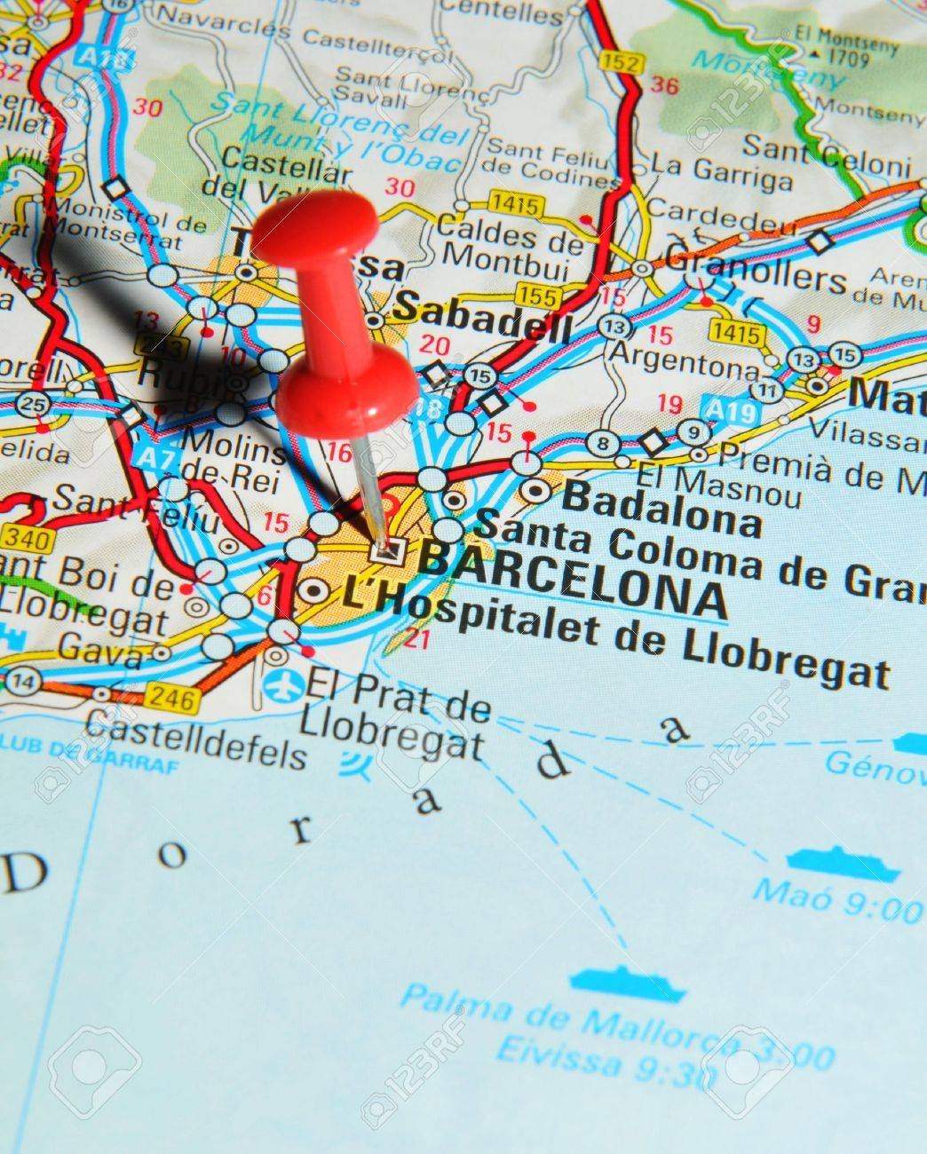London UK June Barcelona Spain Marked With Red - Barcelona map europe
