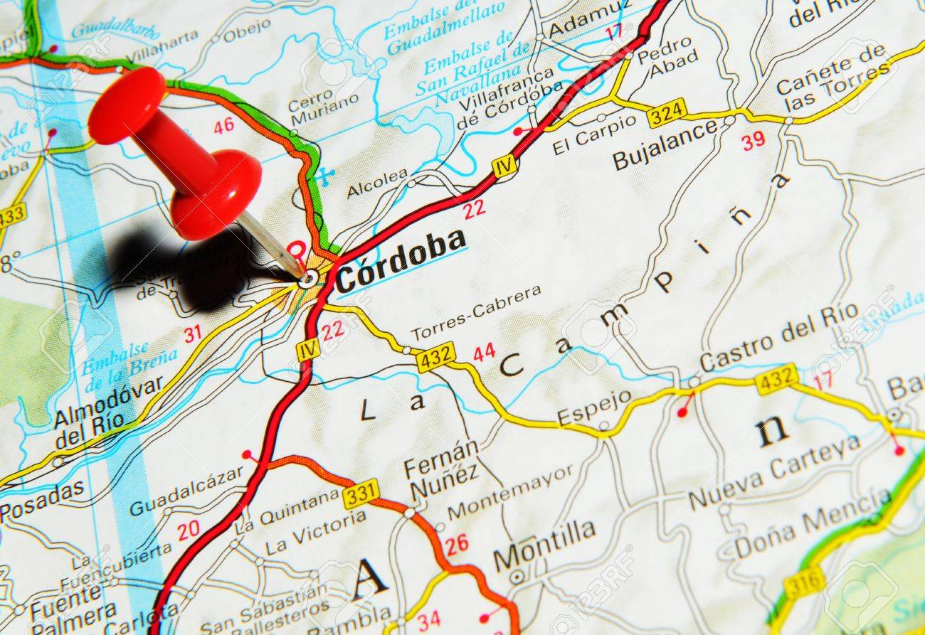 Map Of Uk 1500.London Uk 13 June 2012 Cordoba Spain Marked With Red Pushpin