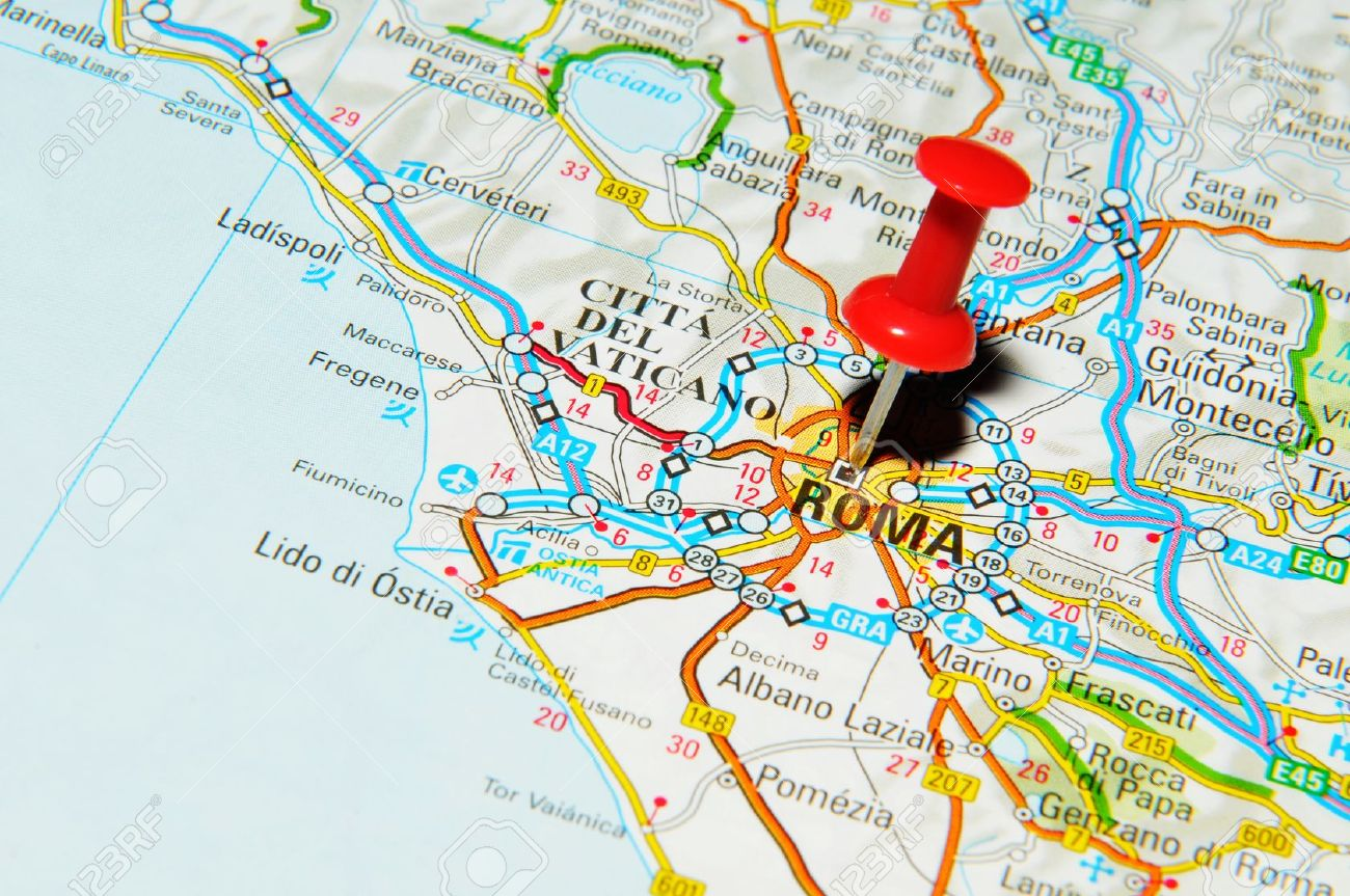 London, UK - 13 June, 2012: Rome, Italy marked with red pushpin on Europe map. - 14515057