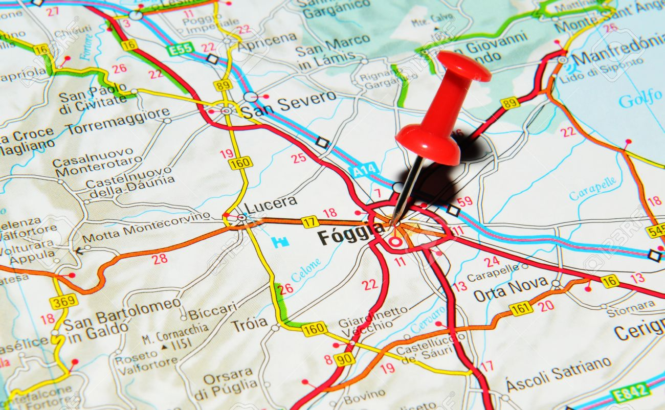 London UK 13 June 2012 Foggia Italy Marked With Red Pushpin
